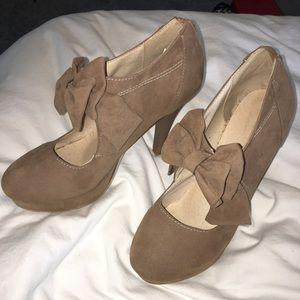 Shoes - Tan Suede Bow Tie Heels